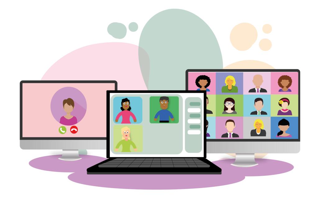 E-Learning mit verschiedenen Computern via Videokonferenz